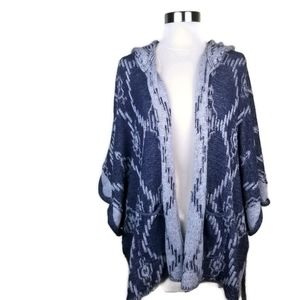 Roxy Blue Oversize Knit Hoodie Open Front Cardigan